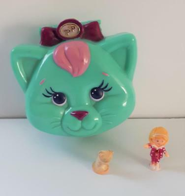 Vintage Polly Pocket, Cuddly Kitty, Dark Pink Variation, RARE, 1993 by Bluebird