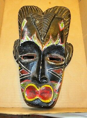 VINTAGE CARVED AFRICAN Mask - Person with Large Red and Yellow Lips