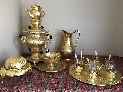 Gold plated persian samovar with tea pot, suger cube/teacup holder, tray.......