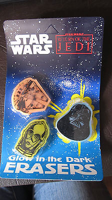 Vintage  Star Wars Return Of The Jedi Glow In Dark Erasers 1983 Collect, SW