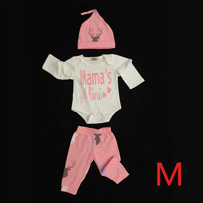 Pink-M 3pcs Newborn Baby Boys Girl Tops Tops Pants Outfits Set Clothes Set