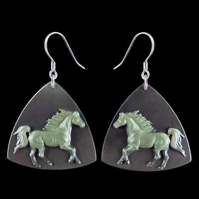 Carved Horse Silver Earring EH900165