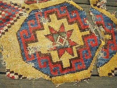 Teppich Fragmente Rug Fragments Early Antique c1800 Konya Anatolian  yellow