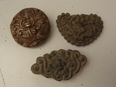 Antique Mongolian Cast Copper Saddle  Ornament Decors 3 Pc