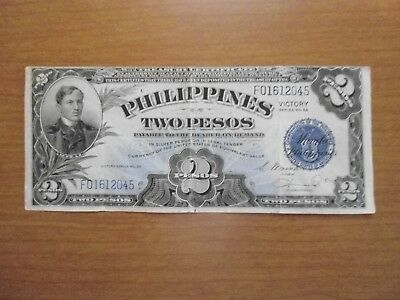 Philppines 2 Pesos  Victory Note 1944 Series #66 Circulated