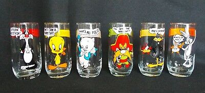 Vtg Arby's Loony Tunes Collectors Series Glasses Set of 6 Different