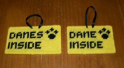 Needlepoint Pet Emergency Sign GREAT DANE DANES For Dog Rescue Charity