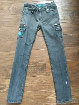 Juniors COOGI Black/grey Denim Jeans with black Leather Pockets Sz. 14