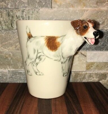Jack Russell 3 Dimensional Mug Cup.Hand Painted by Blue Witch Pottery 3D