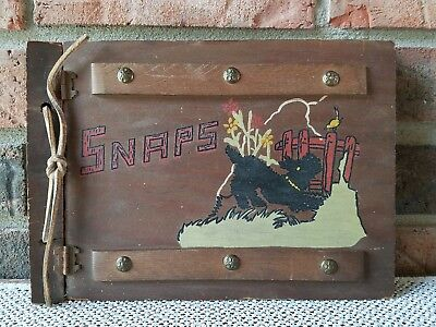 Very Old Hinged Wooden Photo Book with Scottie (Scottish Terrier) Dog on Cover