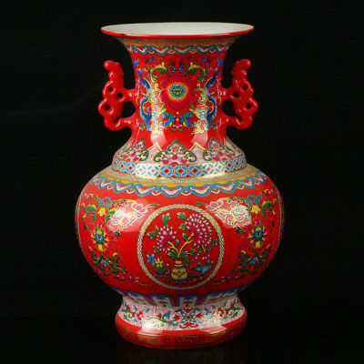 Chinese Porcelain Hand-Painted Pattern Vase Mark As The Qianlong Period R1055+a