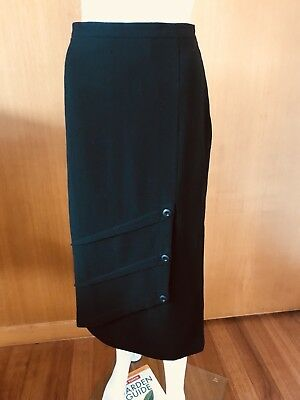 Maggie T-Black Wool Pencil Skirt-Size 12