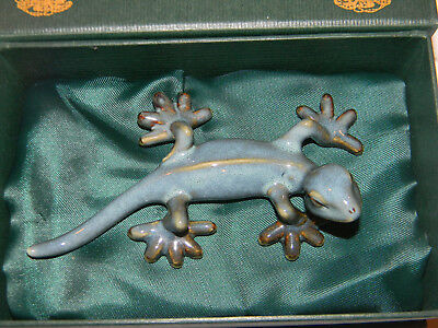 Ceramic Gecko Golden Pond Collection by Green Tree Gray Blue with Gold Toes MINT