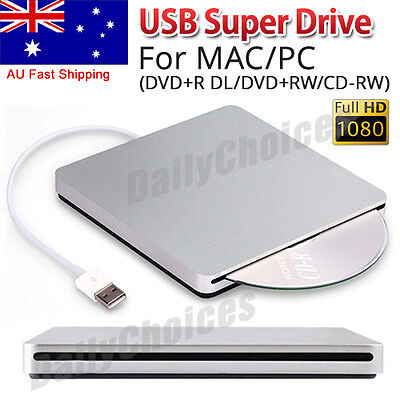 External USB DVD+RW Super Drive for Apple MacBook Air Pro iMac Mac iOS Windows