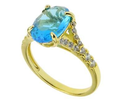 Fashion Rings 18K Yellow Gold Aquamarine Topaz Men Jewelry Party Bands Size 8