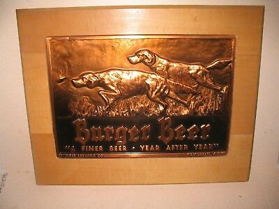 Vintage Burger Beer Sign With Hunting Dogs Hammered Copper Bruce Fox Cincinnati