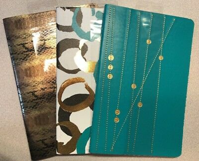 Set Of 3 81/2 X 51/2 Lined Journals Metallic Snake Skin Circles Embroidered Dots