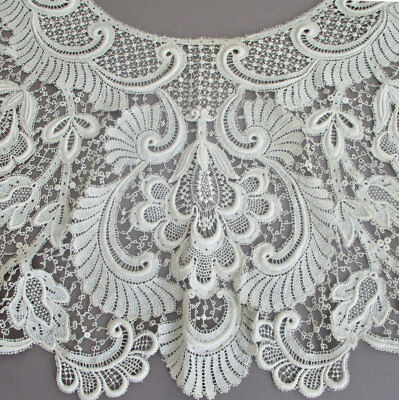 """Antique EDWARDIAN Extravagant 27"""" LACE Bertha Collar GUIPURE Embroidery Lappets"""