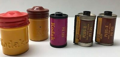 3 Vintage Roll Kodak Exposed Film Plus X Px135 2 Metal Canisters Mystery Unknown