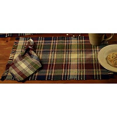 New Country Primitive Burgundy Wine Navy Green Plaid Placemat Table Place Mat