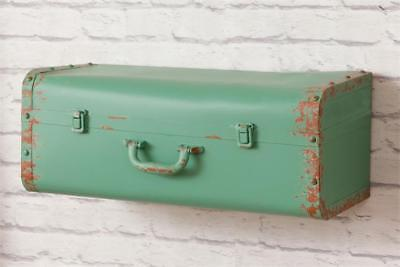 New Rustic Farmhouse Chic Shabby Antique Vintage Style Suitcase Wall Shelf Green