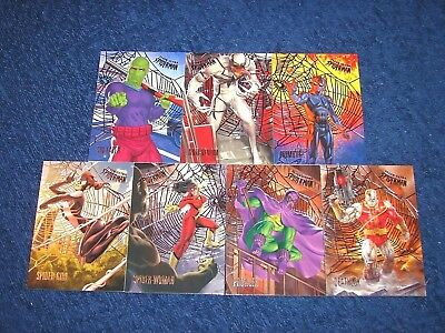 2017 Fleer Ultra Spider-Man 7 Different Silver Foil Web Parallel Cards (18-38)