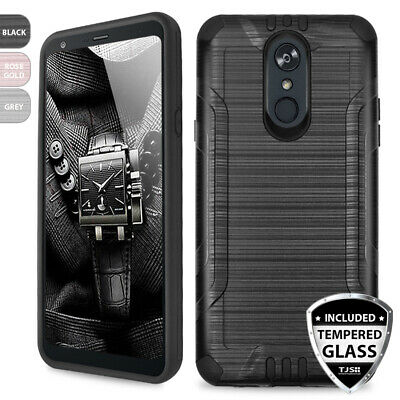 For LG Stylo 4 Tough Brushed Armor TPU Phone Case Cover+Black Tempered Glass
