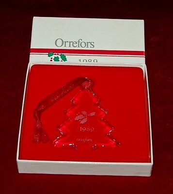 ORREFORS Annual Ornament 1989 MADE IN SWEDEN Beautiful Crystal In Original Box!