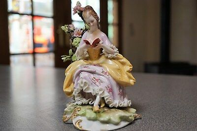 Capodimonte Seated Lady Figure Reading a Book-Dresden Lace-signed Cappe