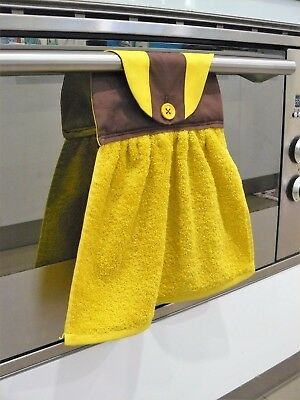 Hanging Hand towel yellow and brown football inspired Hawthorn AFL handmade