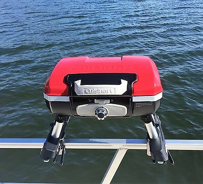 Cuisinart Grill Modified for Pontoon Boat w/ Universal Mid-Mount Grill Brackets