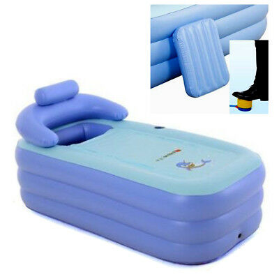 Blow Up Adult Spa PVC Folding Portable Bathtub Warm Inflatable Bath Tub blue AU