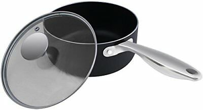 Aluminum Non Stick Sauce Pan with Glass Lid Black 18 x 9 cm by Utopia Kitchen