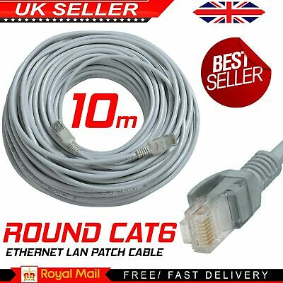 10m CAT6 RJ45 Internet LAN Router Cable PC Laptop Fast Round Grey Lead UK