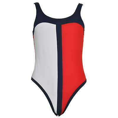 9975c68e98 Tommy Hilfiger Women's Signature One-Piece Swimsuit, Costume, Red, White +  Blue