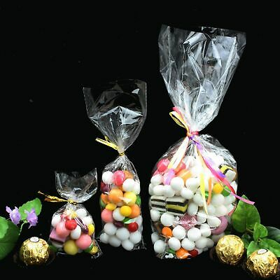 CLEAR CELLOPHANE CELLO BAGS FOR PARTY GIFT TOY SWEETS CANDY CAKE POPS 11 Sizes