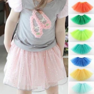 US Child Girls Kids Tulle Tutu Skirt Ballet Dancewear Dress Costume Pettiskirt