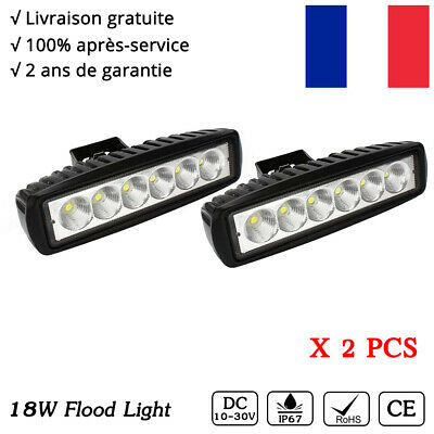 2x 18W phare de travail Barre LED projecteur hors route 12V 24V worklight LAMP