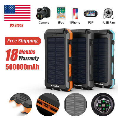 Waterproof 300000mAh Dual USB Solar Power Bank Battery Charger For Cell Phone US