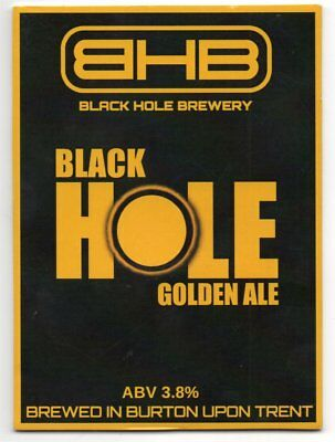Beer pump clip front. Black Hole Brewery, BLACK HOLE GOLDEN ALE.