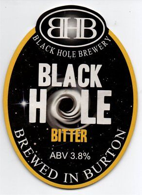 Beer pump clip front. Black Hole Brewery, BLACK HOLE, Bitter