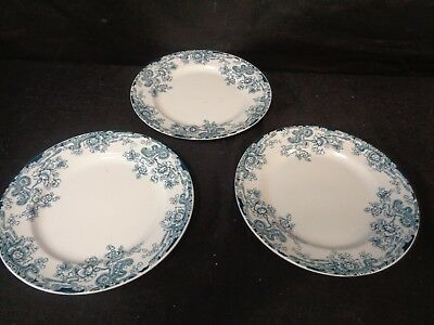 KEELING LATE MAYERS LOSOL WARE TOKIO BLUE & WHITE CHINA c1912 -3TEA PLATES (ss)