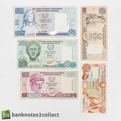 CYPRUS: Set of 5 Cypriot Pound banknotes