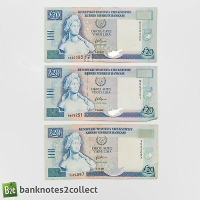 CYPRUS: 3 x 20 Cypriot Pound banknotes