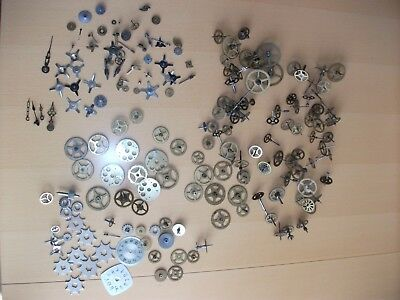 Job Lot Of Approx 190 Vintage Clock Parts, Steampunk Crafts Spares