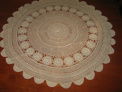 Vintage Crocheted Lace Tablecloth ~ Light Beige ~ Cotton ~ Round