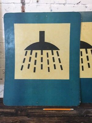 "Vintage Military Sign ""Showers"" Made in Poland Resin Industrial Army Wall Sign"