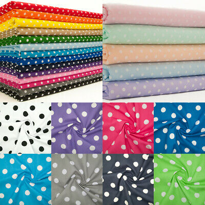 PEA or PIN SPOT SPOTTY DOTTY FABRIC Red Blue Pink POLYCOTTON MATERIAL 1/2 Metre