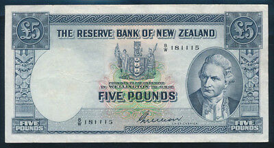 "New Zealand: 1955 £5 Wilson RARE LUCKY NO. ""111"" IN SERIAL. VF Cat $160+"