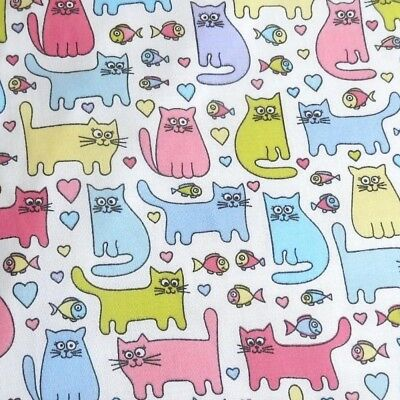 Polycotton Fabric Cartoon Cat Fish Hearts Cats